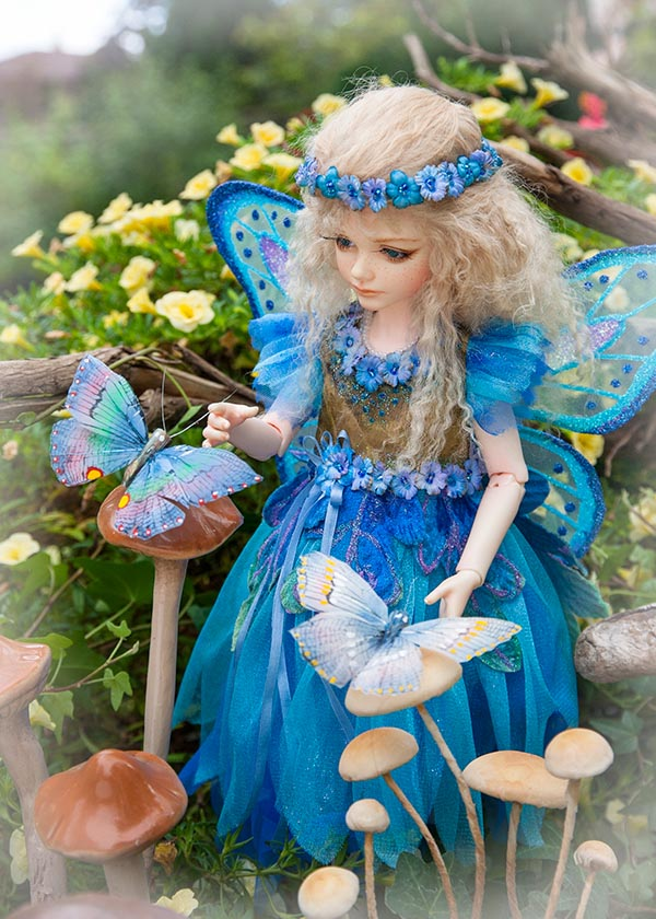 Blue Fairy with Butterflies